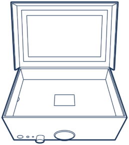 An outline drawing of Music Memory Box open with